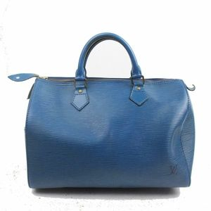 Auth Louis Vuitton Speedy 30 Blue Epi #1801L23